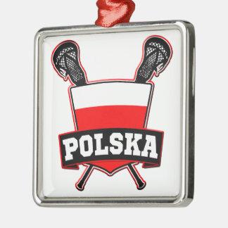Polski Poland Lacrosse Silver-Colored Square Decoration