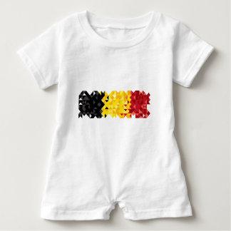 Poly Art Belgium Flag, Belgian Color Baby Clothing Baby Bodysuit