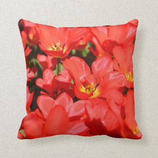 poly throw pillow red tulips