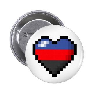 Polyamorous Pixel Heart 6 Cm Round Badge