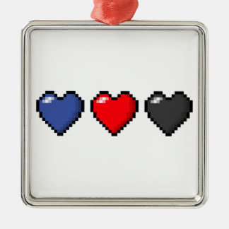 Polyamorous Pixel Hearts Silver-Colored Square Decoration