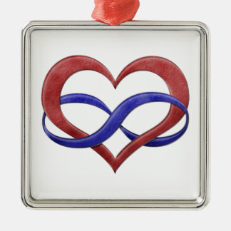 Polyamory Pride Infinity Heart Silver-Colored Square Decoration