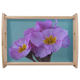 Polyanthus Pink Champagne Floral Serving Tray