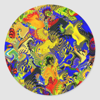 Polychrome Flowers,Birds and Dragons design Round Sticker