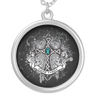 Polycystic Kidney Disease Faith  Prayer Cross Round Pendant Necklace
