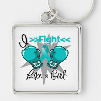 Polycystic Kidney Disease I Fight Like a Girl Silver-Colored Square Key Ring