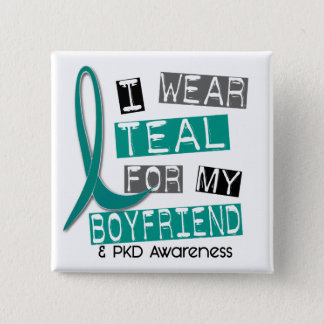 Polycystic Kidney Disease PKD Teal For Boyfriend 3 15 Cm Square Badge