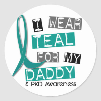 Polycystic Kidney Disease PKD Teal For Daddy 37 Classic Round Sticker
