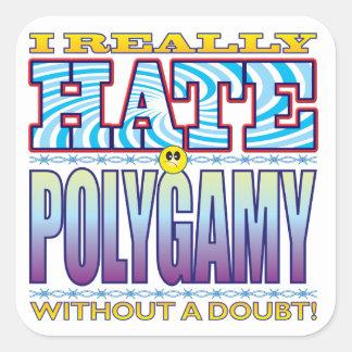 Polygamy Hate Face Square Sticker