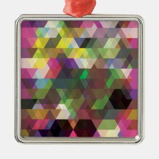 Polygon Colour Shape Crazy Pattern Silver-Colored Square Decoration