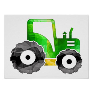 Polygon Mosaic Green & Yellow Tractor Poster