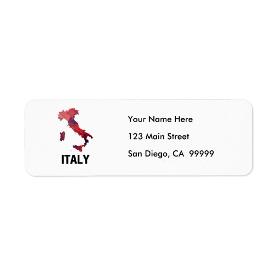 Polygon Mosaic Map of Italy Return Address Label