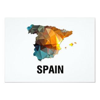 Polygon Mosaic Map of Spain 13 Cm X 18 Cm Invitation Card