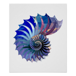 Polygon Mosaic Nautilus Shell Blue & Purple Poster