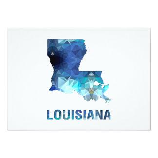 "Polygon Mosaic State Map  LOUISIANA 5"" X 7"" Invitation Card"