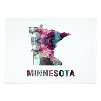 "Polygon Mosaic State Map  MINNESOTA 5"" X 7"" Invitation Card"