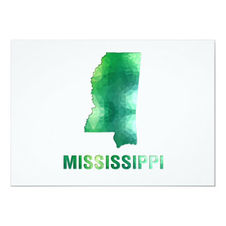 """Polygon Mosaic State Map  MISSISSIPPI 5"""" X 7"""" Invitation Card"""