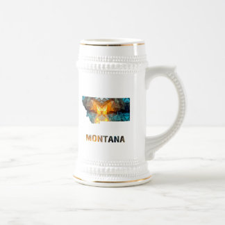 Polygon Mosaic State Map  MONTANA Beer Steins