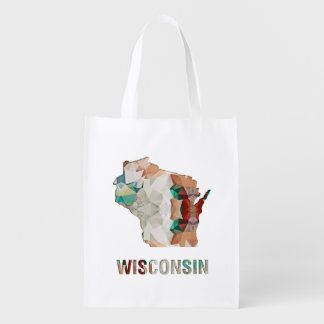 Polygon Mosaic State Map WISCONSIN Reusable Grocery Bag