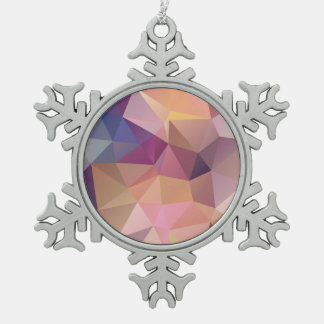 Polygon pink purple yellow background . pewter snowflake decoration