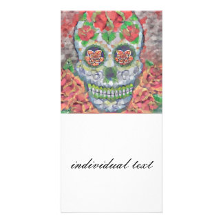 Polygon Skull Personalised Photo Card