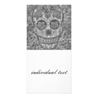 Polygon Skull silver Photo Greeting Card