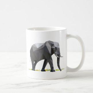 polygon triangle graphic art elephant basic white mug