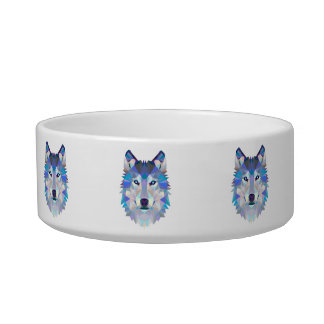 Polygon wolf - geometric wolf - abstract wolf bowl