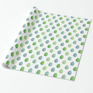 Polygonal eggs pattern in green colours wrapping paper