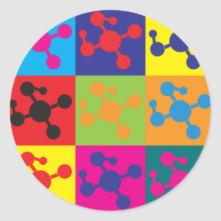 Polymer Chemistry Pop Art Round Sticker