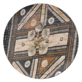 Polynesia, Kingdom of Tonga. Detail of tapa Dinner Plates