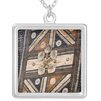 Polynesia, Kingdom of Tonga. Detail of tapa Silver Plated Necklace
