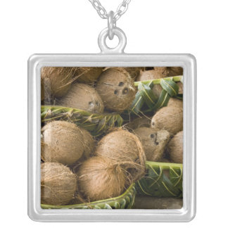 Polynesia, Kingdom of Tonga. Display of coconuts Silver Plated Necklace