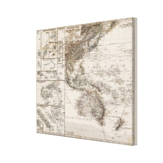 Polynesia Map Stretched Canvas Prints