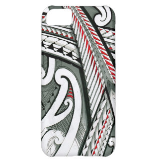 polynesian art red grey tattoo design island hawai iPhone 5C case