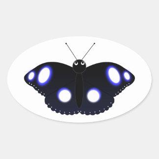 Polynesian Black Butterfly Oval Sticker