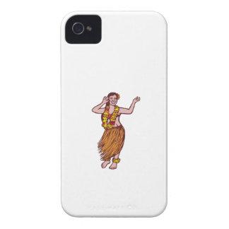Polynesian Dancer Grass Skirt Linocut iPhone 4 Case