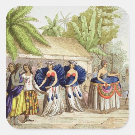 Polynesian Dancing Girls, engraved by A. Bernati ( Square Sticker
