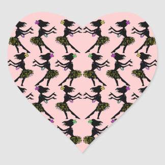 Polynesian Hawaiian Tike Hula Heart Stickers Pink