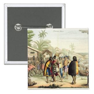 Polynesian Natives Greeting and Rubbing Noses, eng 15 Cm Square Badge