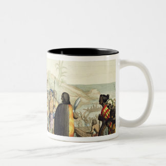 Polynesian Natives Greeting and Rubbing Noses, eng Two-Tone Coffee Mug