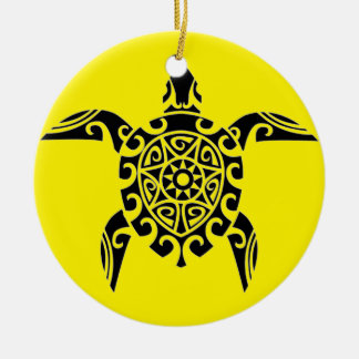 Polynesian Pacific Island tattoo design Turtle Christmas Ornament