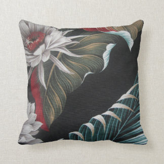Polynesian Palms/Tropical Flowers - Throw Pillow