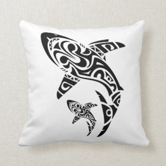 Polynesian Shark Tattoo design cushion