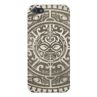 Polynesian Tribal Face Brown iPhone 5/5S Cases