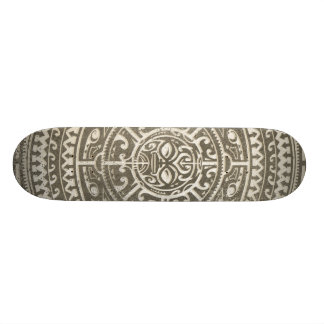 Polynesian Tribal Face Brown 21.3 Cm Mini Skateboard Deck