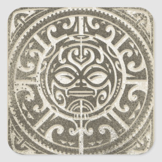 Polynesian Tribal Face Brown Square Sticker