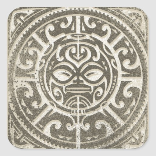 Polynesian Tribal Face Brown Stickers
