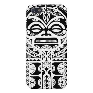 Polynesian tribal tattoo design with tiki mask iPhone 5 cases