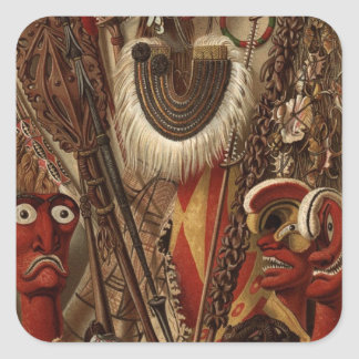 Polynesian Weapons and Costume Square Sticker